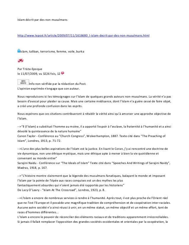 Islam décrit par des non musulmans http://www.lepost.fr/article/2009/07/11/1616680_l-islam-decrit-par-des-non-musulmans.ht...