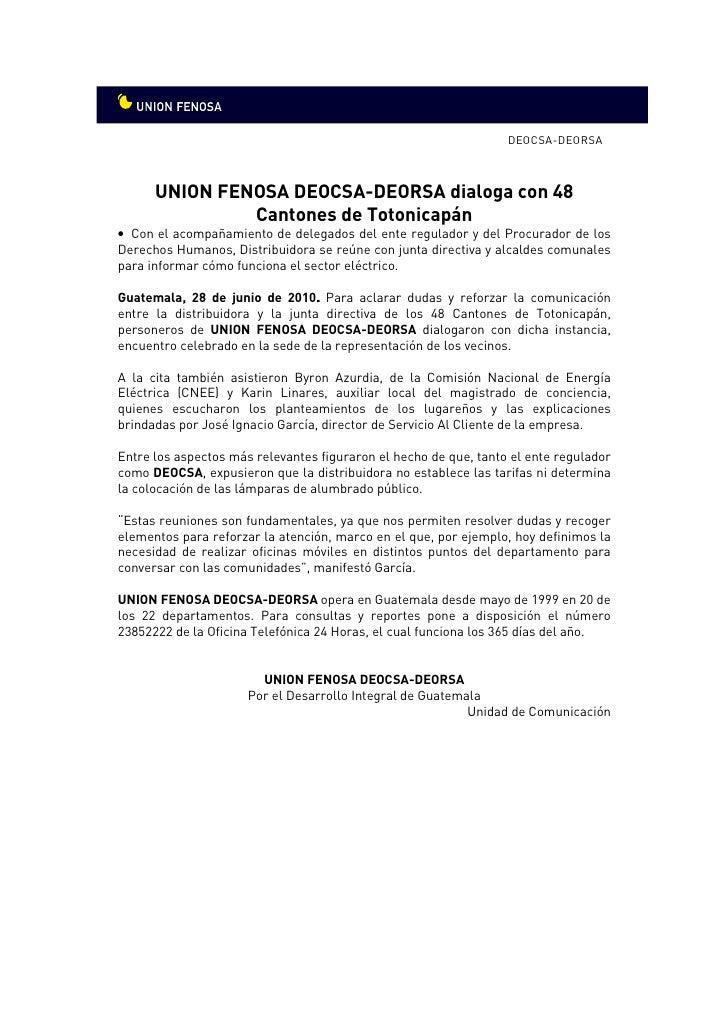 DEOCSA-DEORSA          UNION FENOSA DEOCSA-DEORSA dialoga con 48                Cantones de Totonicapán • Con el acompañam...