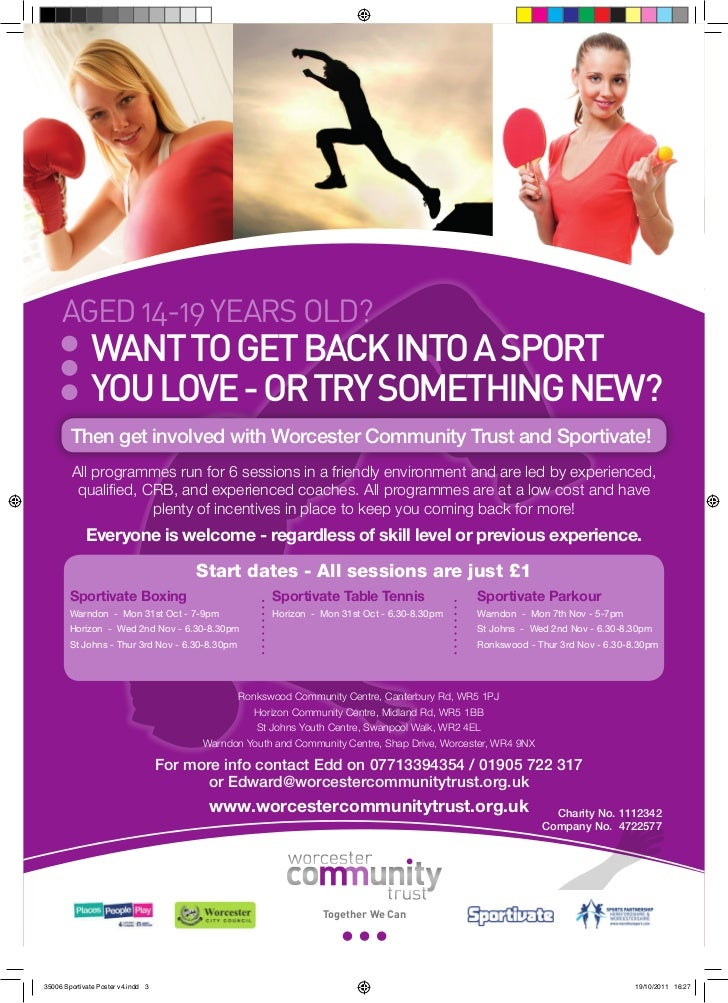 Aged 14-19 yeArs old?              Want to get back into a sport              you love - or try something neW?        Then...
