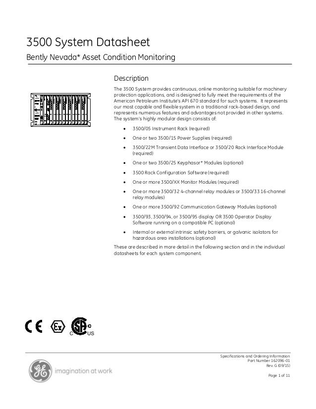 Specifications and Ordering Information Part Number 162096-01 Rev. G (09/15) Page 1 of 11 3500 System Datasheet Bently Nev...