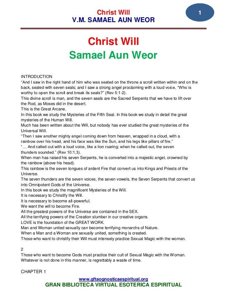 Christ Will                                                        1                            V.M. SAMAEL AUN WEOR      ...