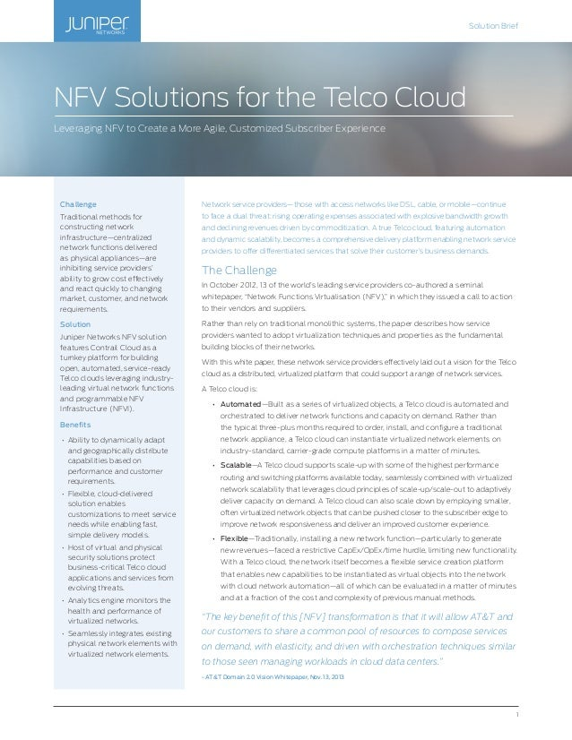 NFV Solutions for the Telco Cloud