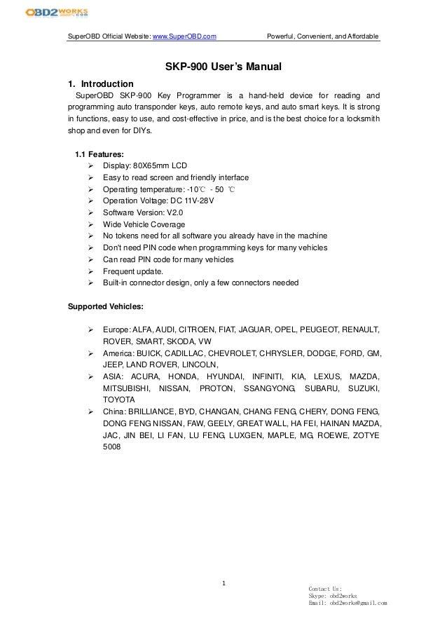 superobd skp 900 key programmer user manual rh slideshare net