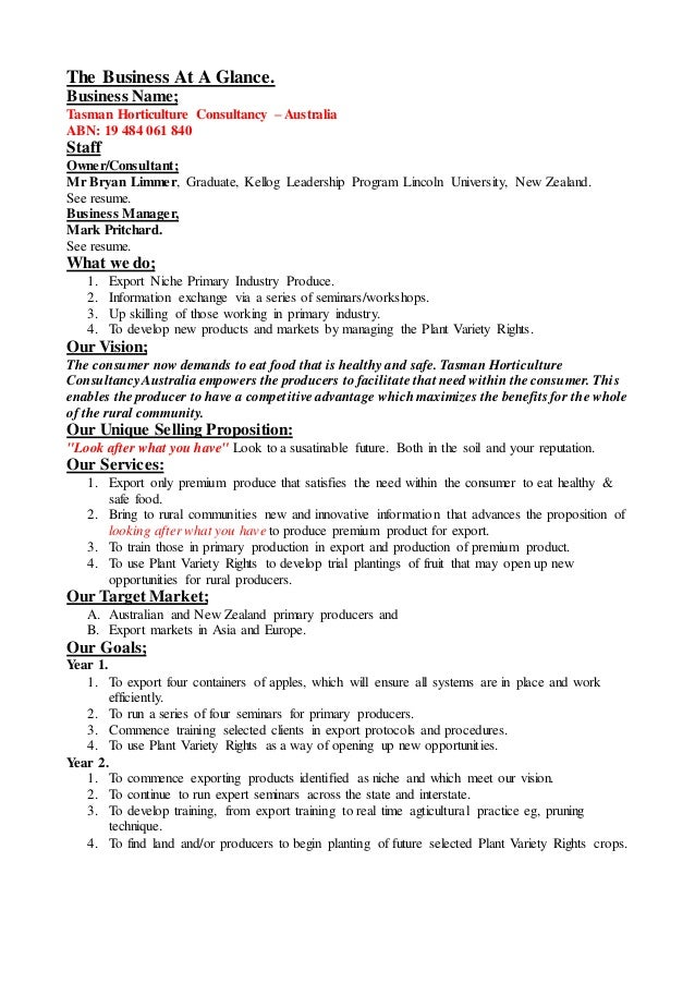 horticulture business plan sample