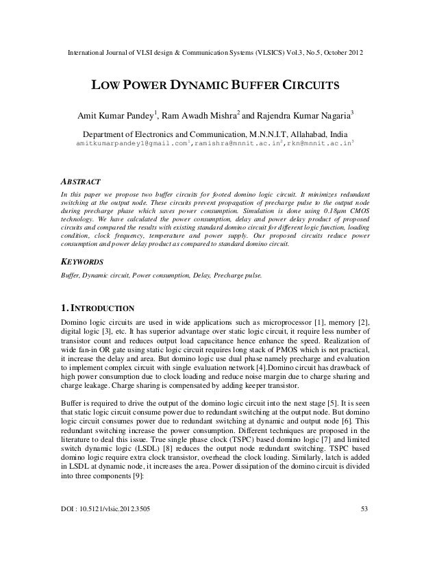 International Journal of VLSI design & Communication Systems (VLSICS) Vol.3, No.5, October 2012          LOW POWER DYNAMIC...