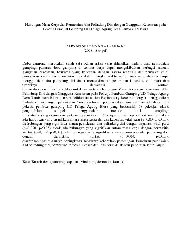 Hubungan Masa Kerja dan Pemakaian Alat Pelindung Diri dengan Gangguan Kesehatan pada Pekerja Pembuat Gamping UD Telaga Agu...