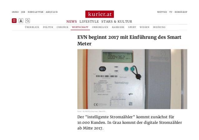 """Der """"intelligente Stromzähler"""" kommt zunächst für 10.000 Kunden. In Graz kommt der digitale Stromzähler ab Mitte 2017. EVN..."""