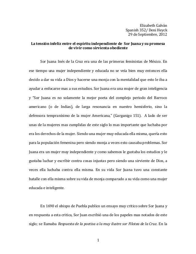 1 Elizabeth Galván Spanish 352/ Deni Heyck 29 de Septiembre, 2012 La tensión infeliz entre el espíritu independiente de So...
