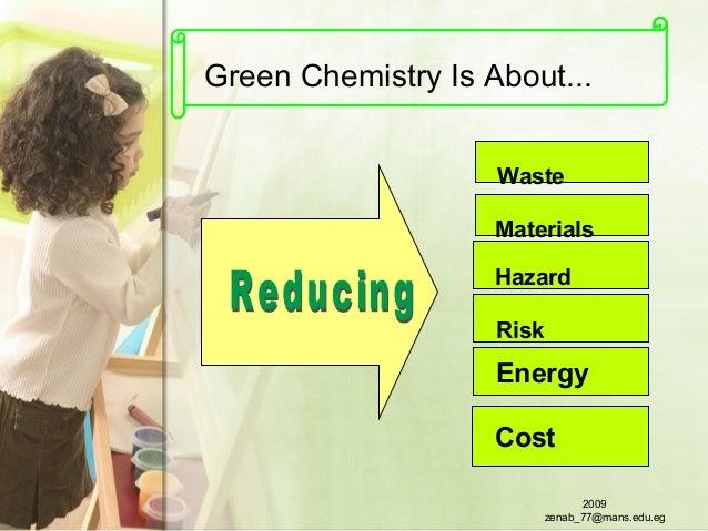 Green Chemistry Is About... Cost Waste Materials Hazard Risk Energy 2009 zenab_77@mans.edu.eg