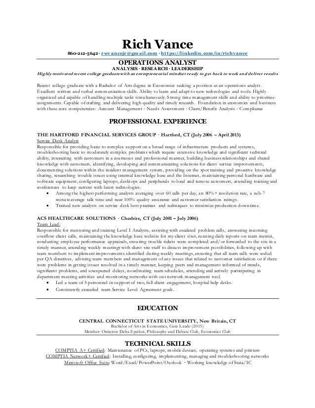 Rich Vance Operations Analyst Resume