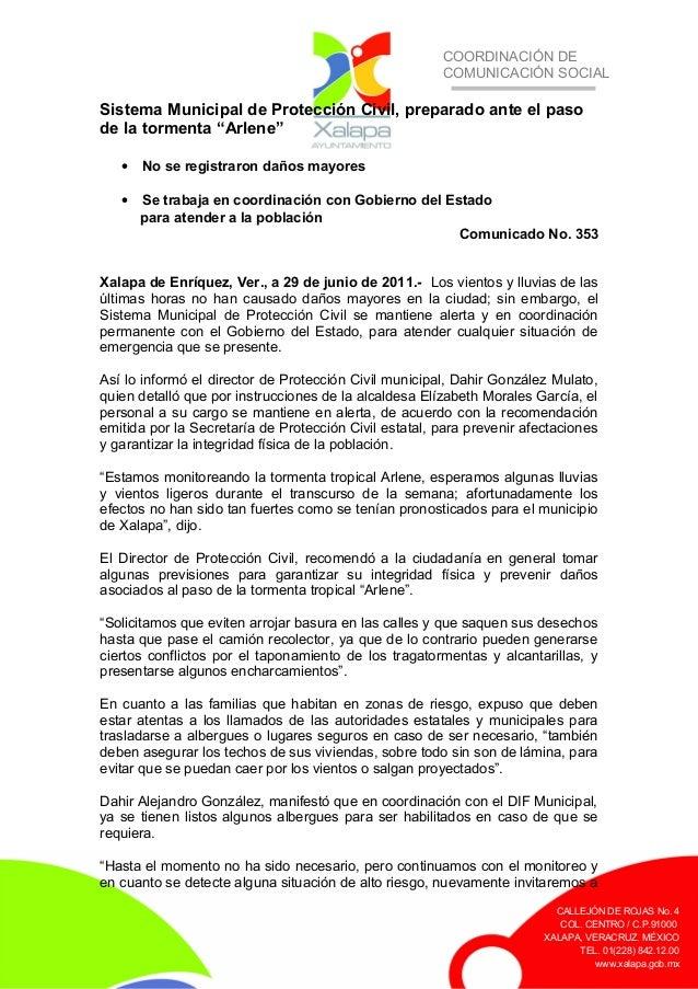 COORDINACIÓN DE COMUNICACIÓN SOCIAL CALLEJÓN DE ROJAS No. 4 COL. CENTRO / C.P.91000 XALAPA, VERACRUZ. MÉXICO TEL. 01(228) ...