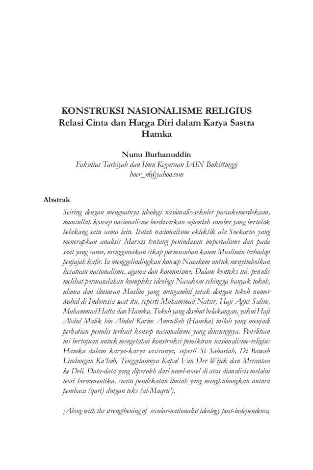 Konstruksi Nasionalisme Religius Relasi Cinta Dan Harga Diri Dalam K