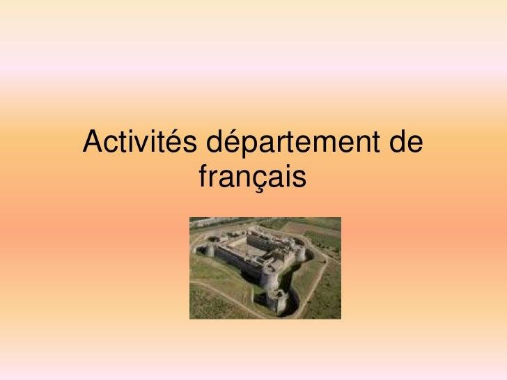Activités département de          français