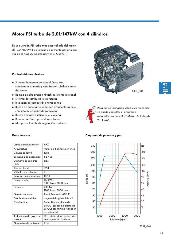 Motor FSI turbo de 2,0l/147kW con 4 cilindrosEs una versión FSI turbo más desarrollada del motorde 2,0l/110kW. Esta mecáni...