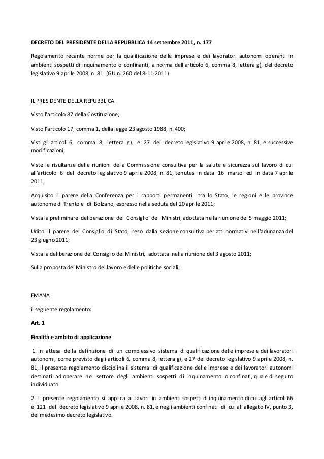 DECRETODELPRESIDENTEDELLAREPUBBLICA14settembre2011,n.177 Regolamento recante norme per la qualificazione...