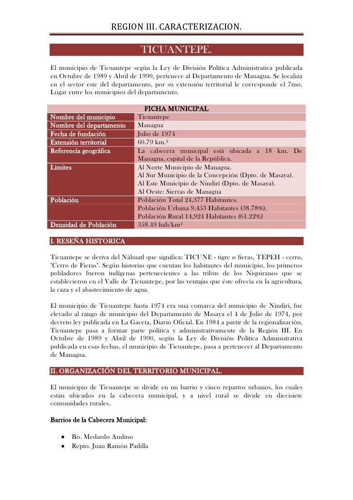 REGION III. CARACTERIZACION.                                   TICUANTEPE. El municipio de Ticuantepe según la Ley de Divi...