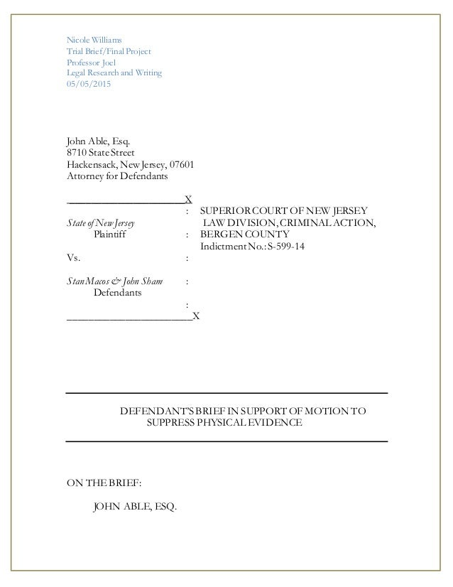 Legal Research Trial Brief Final Project