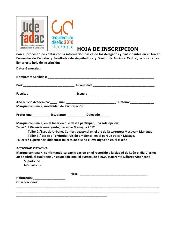 HOJA DE INSCRIPCION Con el propósito de contar con la información básica de los delegados y participantes en el Tercer Enc...