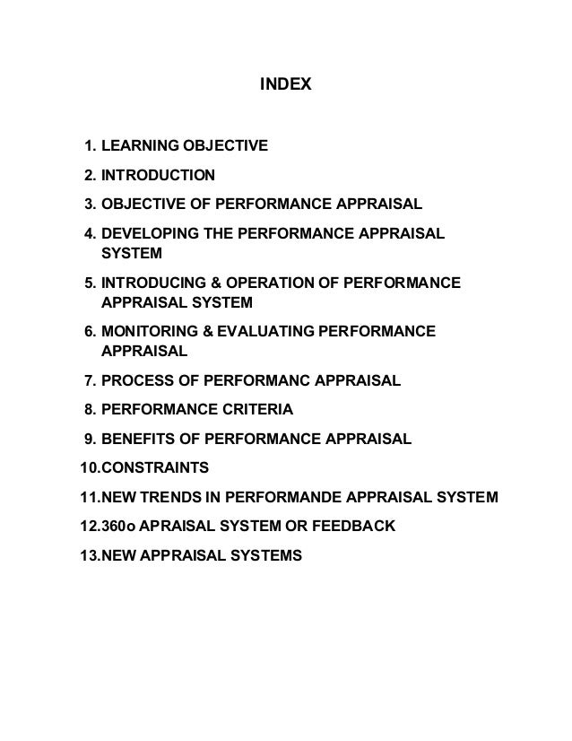 INDEX1. LEARNING OBJECTIVE2. INTRODUCTION3. OBJECTIVE OF PERFORMANCE APPRAISAL4. DEVELOPING THE PERFORMANCE APPRAISALSYSTE...
