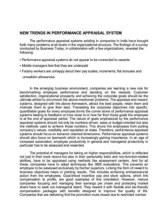 NEW TRENDS IN PERFORMANCE APPRAISAL SYSTEMThe performance appraisal systems existing in companies in India have broughtfor...