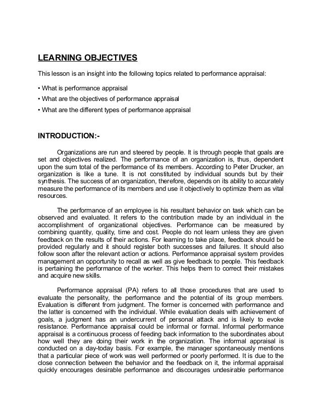 LEARNING OBJECTIVESThis lesson is an insight into the following topics related to performance appraisal:• What is performa...