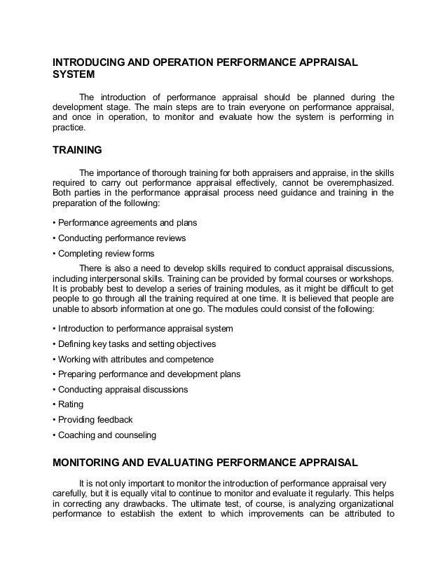 INTRODUCING AND OPERATION PERFORMANCE APPRAISALSYSTEMThe introduction of performance appraisal should be planned during th...