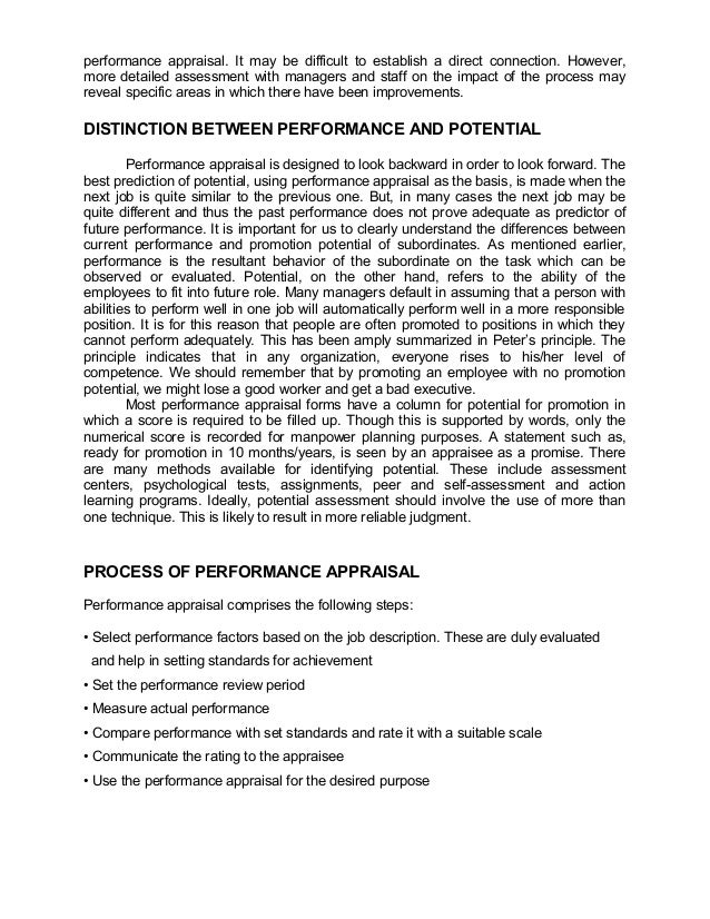performance appraisal. It may be difficult to establish a direct connection. However,more detailed assessment with manager...