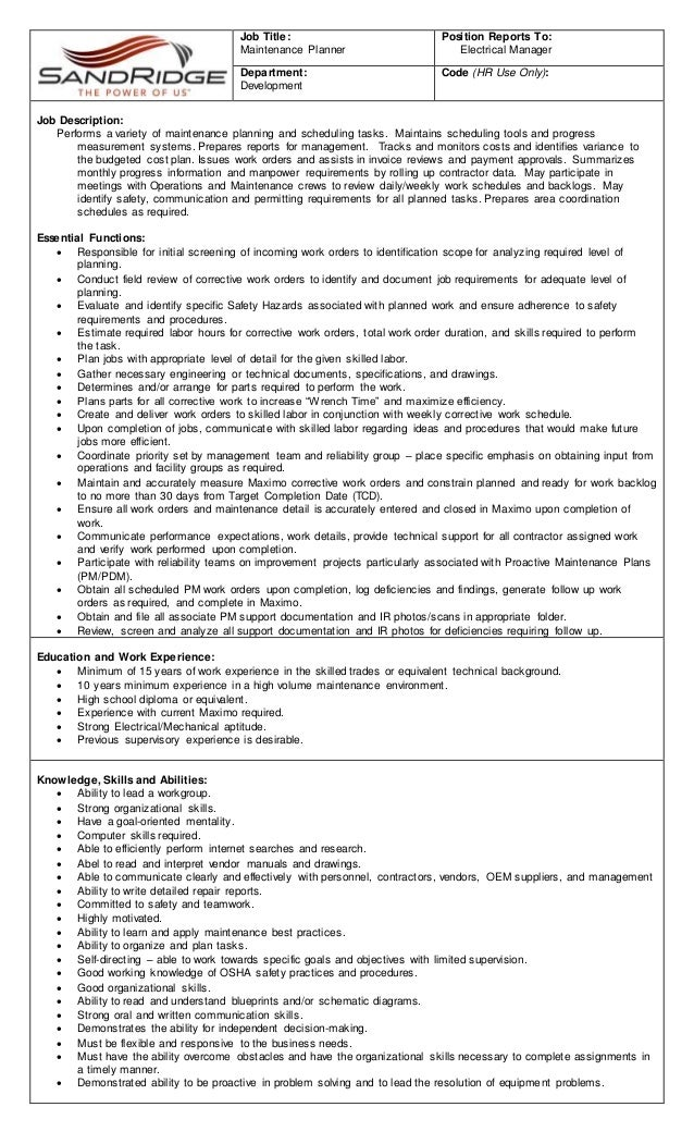Job Description Maintenance Planner