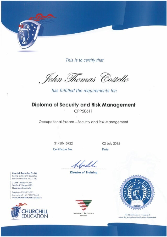 john diploma of security and risk management costello john diploma of security and risk management