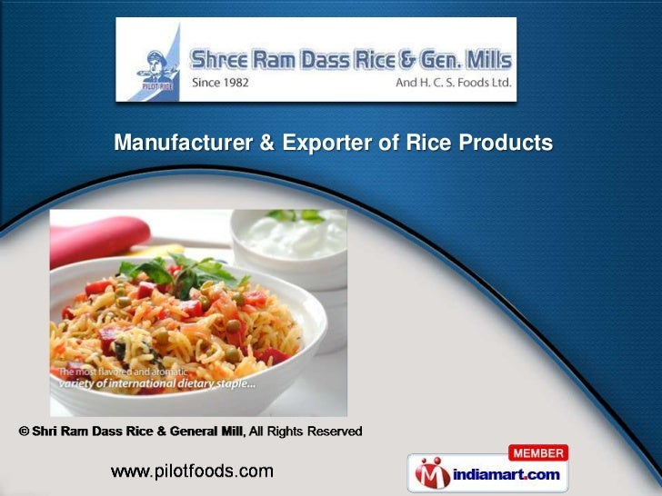 Manufacturer & Exporter of Rice Products