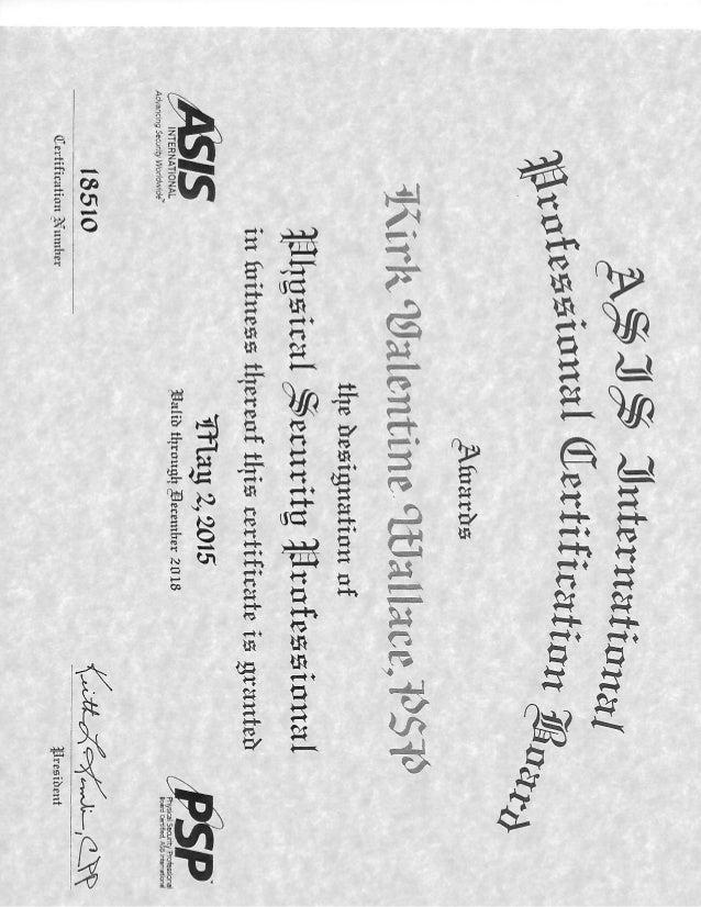 Kirk Wallace Psp Certificate