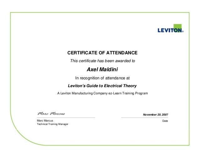 Axel Leviton Certificate diploma curso on-line 2007