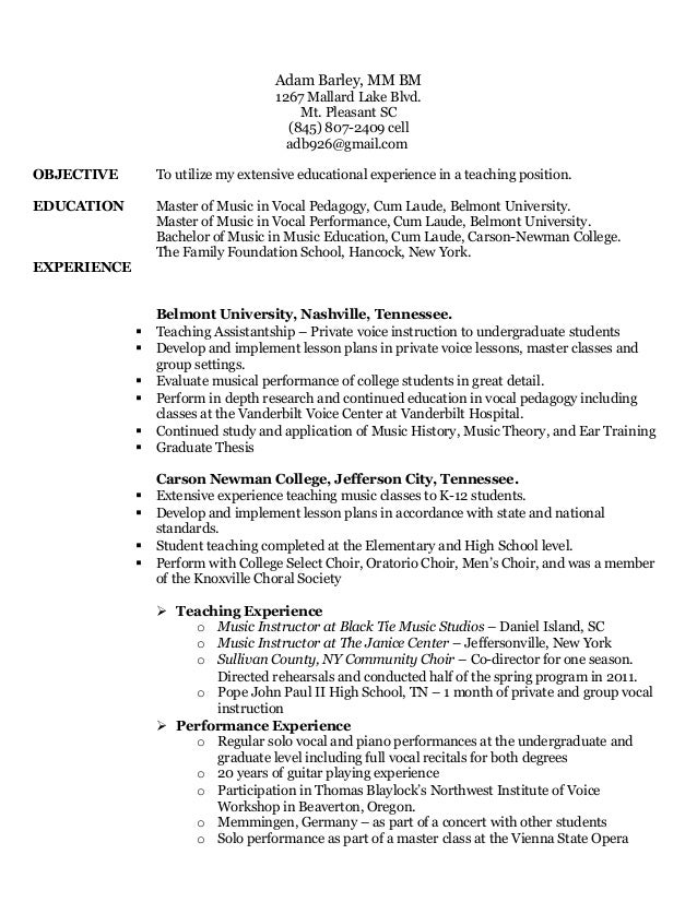 Adam Barley Teaching Resume. Adam Barley, MM BM 1267 Mallard Lake Blvd. Mt.  Pleasant SC (845 ...  Student Teaching On Resume