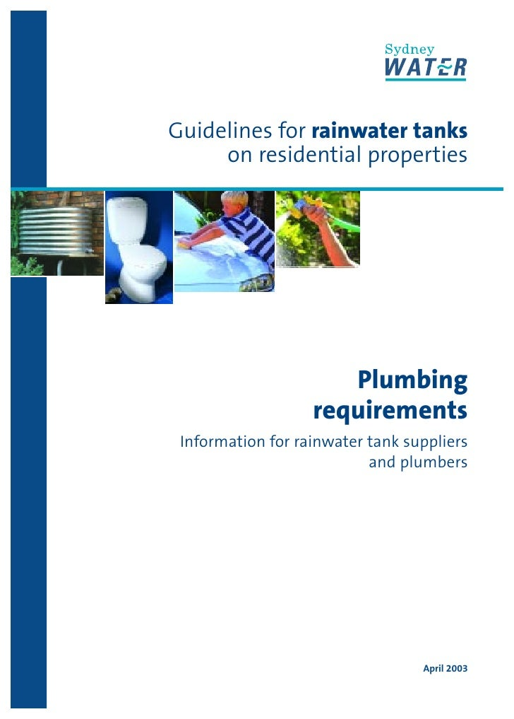 Guidelines for rainwater tanks     on residential properties                      Plumbing                   requirements ...