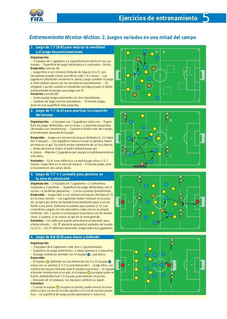 Ejercicios de entrenamiento   5Entrenamiento técnico-táctico: 2. Juegos variados en una mitad del campo1. Juego de 7:7 (8:...