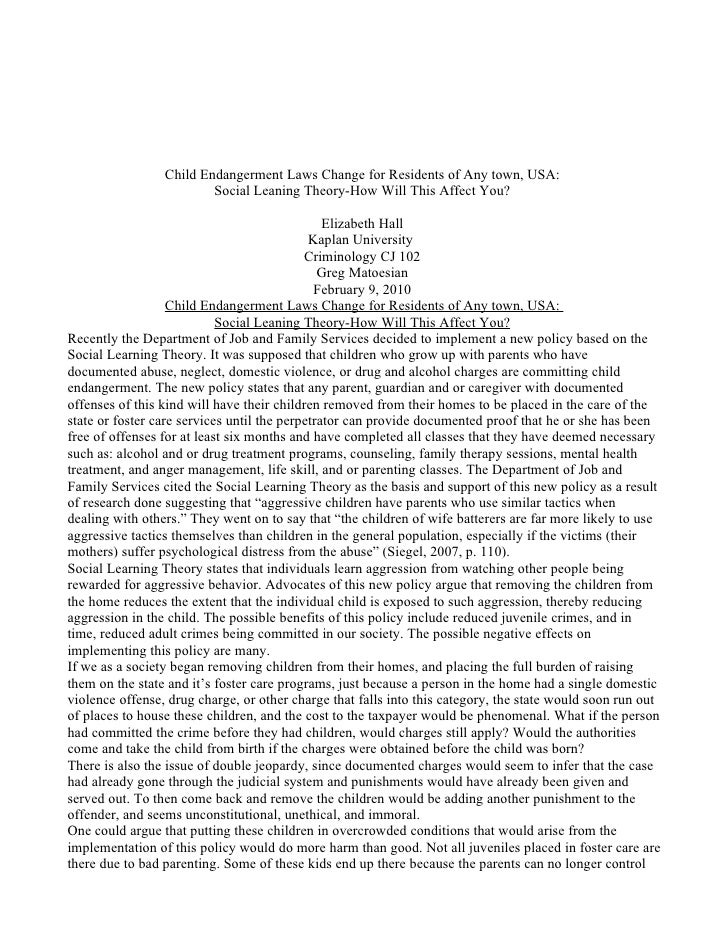 midterm unit 5 criminology Running head: unit 5 project unit 5 midterm essay cj 102-03: criminology 1 kaplan university professor: ellen smith chupik august 31, 2012 a recent policy was implemented by jackson tennessee's police department, and family service's dealing with the problem of child endangerment.