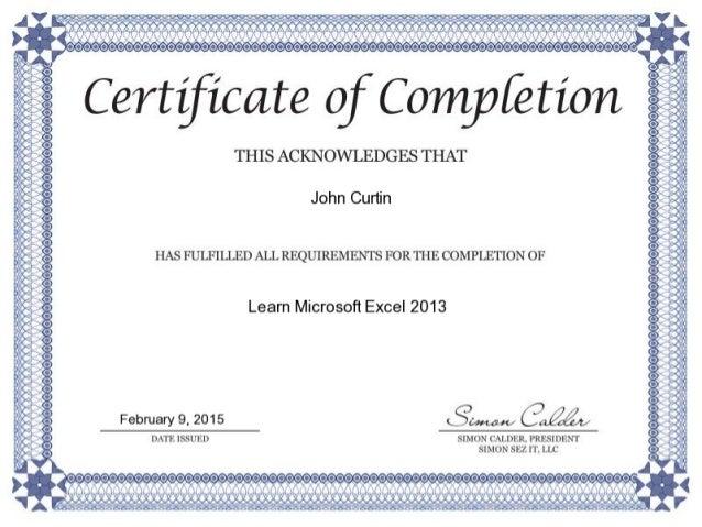 Excel 2013 Certificate
