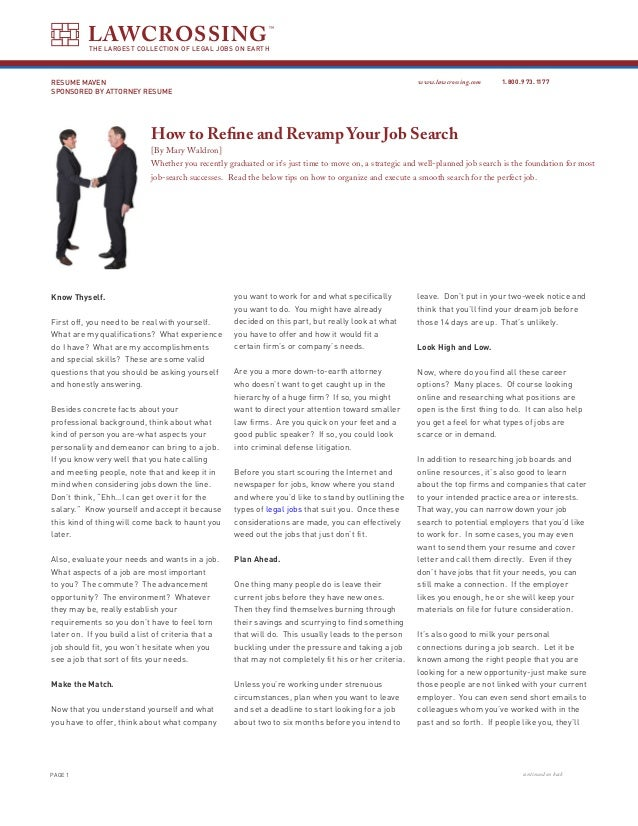 How To Refine And Revamp Your Job Search