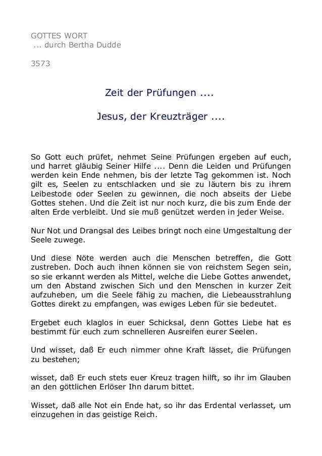 GOTTES WORT ... durch Bertha Dudde 3573 Zeit der Prüfungen .... Jesus, der Kreuzträger .... So Gott euch prüfet, nehmet Se...