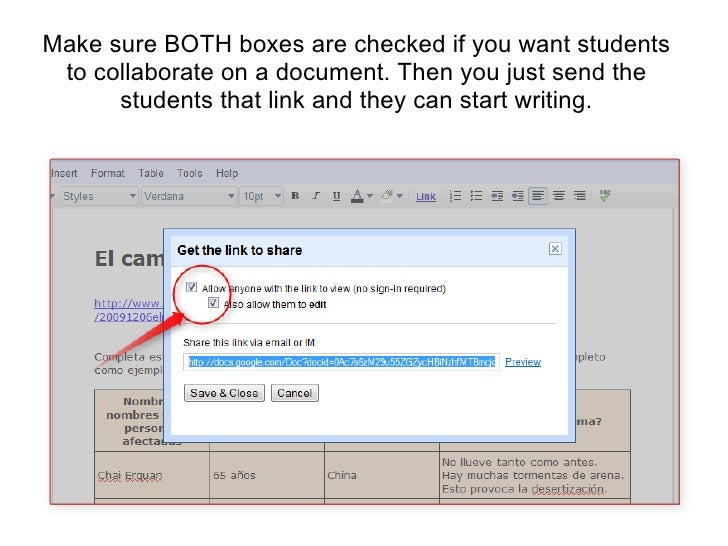 Make sure BOTH boxes are checked if you want students to collaborate on a document. Then you just send the students that l...