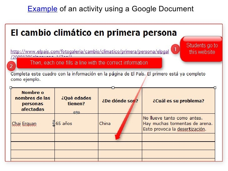 Example of an activity using a Google Document<br />