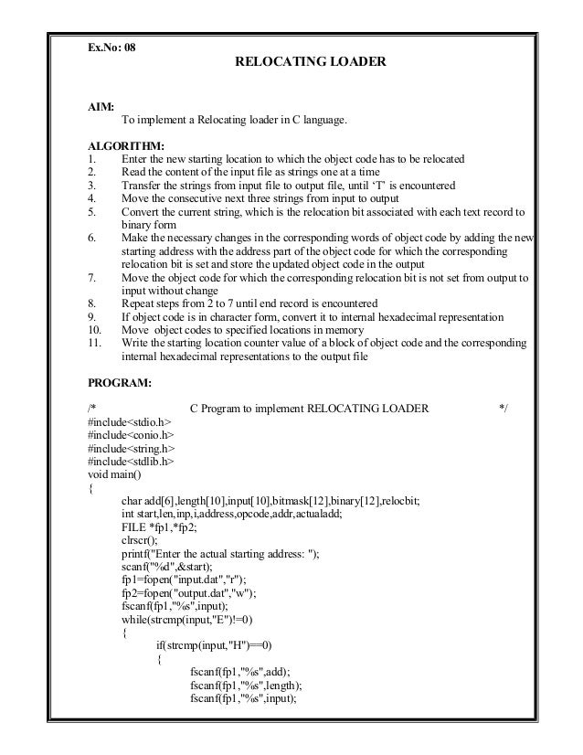 System Software Lab Manual