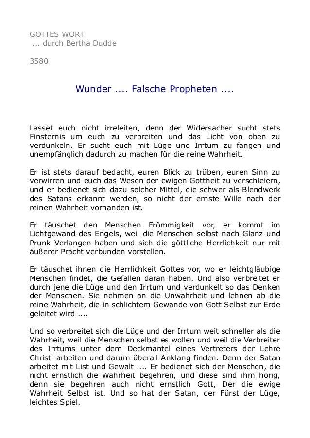 GOTTES WORT ... durch Bertha Dudde 3580 Wunder .... Falsche Propheten .... Lasset euch nicht irreleiten, denn der Widersac...