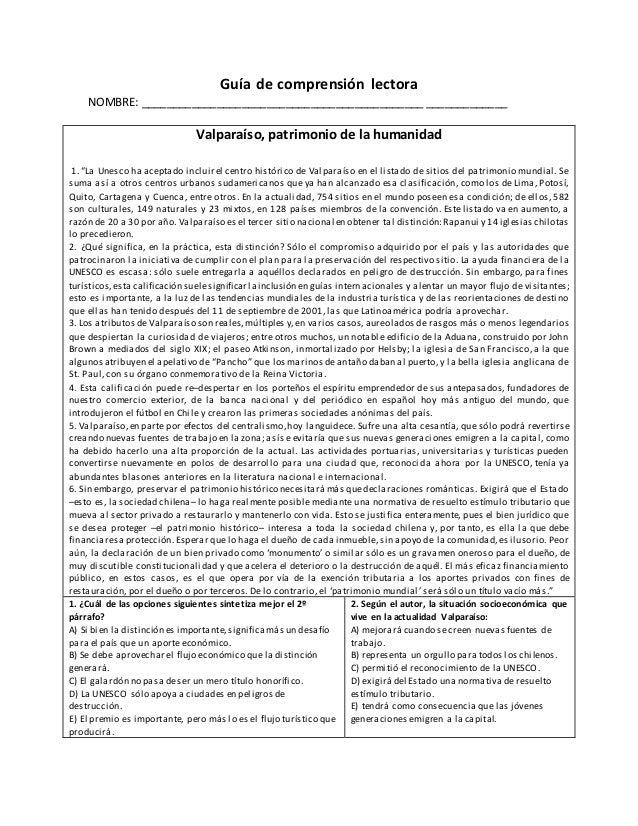Guía de comprensión lectora NOMBRE: _____________________________________________ _____________ Valparaíso, patrimonio de ...