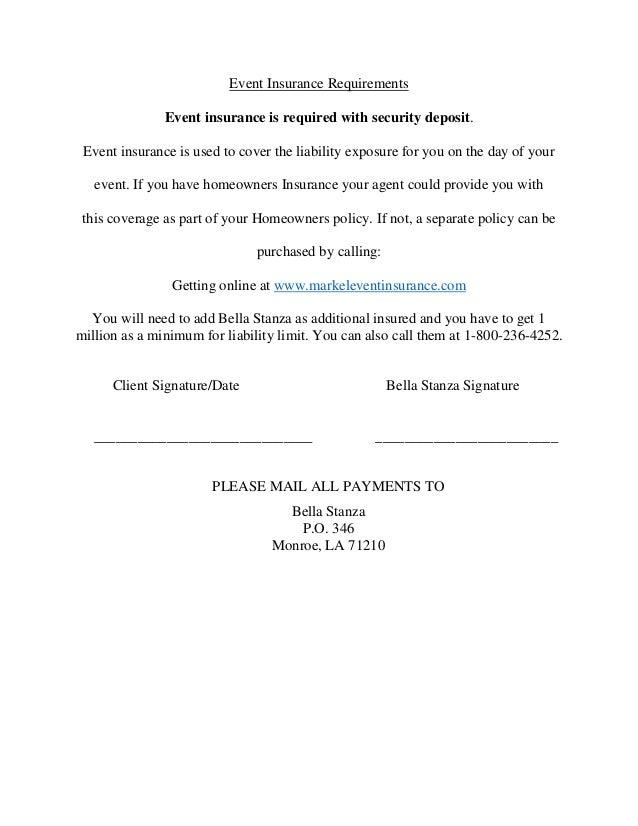 Event Insurance Quote Classy Bellastanzacontract