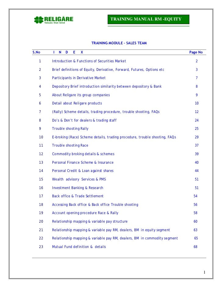 TRAINING MANUAL RM -EQUITY                                 TRAINING MODULE – SALES TEAMS.No    I   N   D    E   X         ...