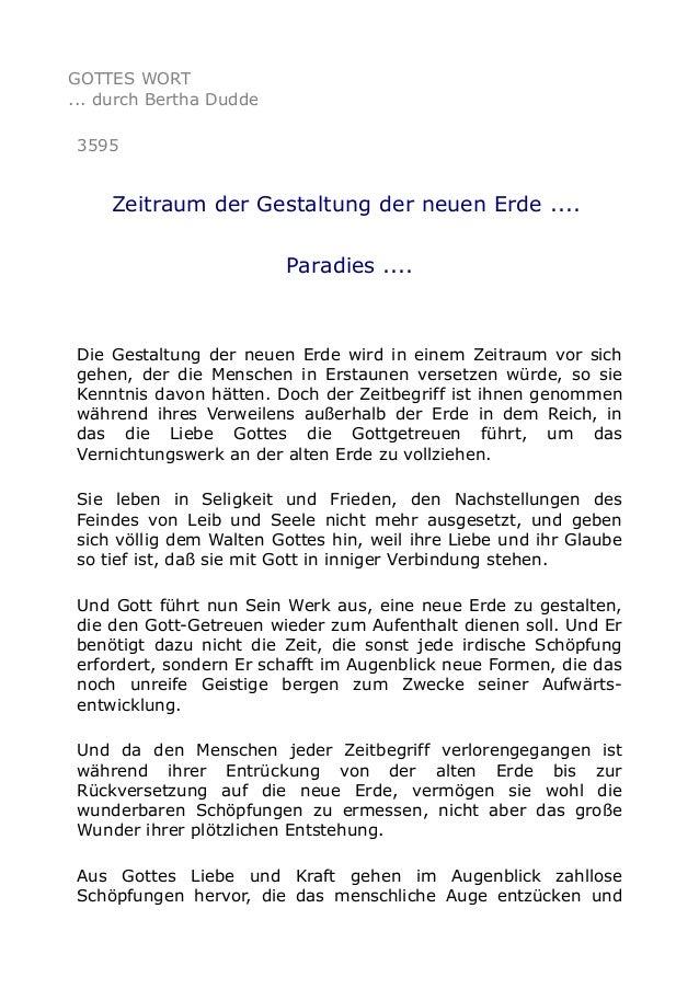 GOTTES WORT ... durch Bertha Dudde 3595 Zeitraum der Gestaltung der neuen Erde .... Paradies .... Die Gestaltung der neuen...