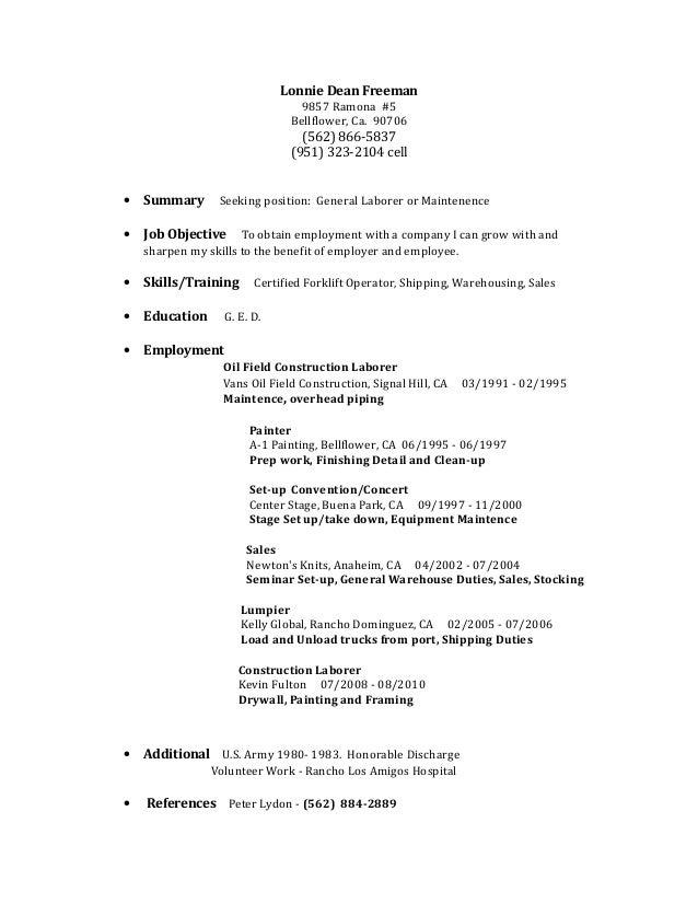 lon resume – Construction Laborer Job Description