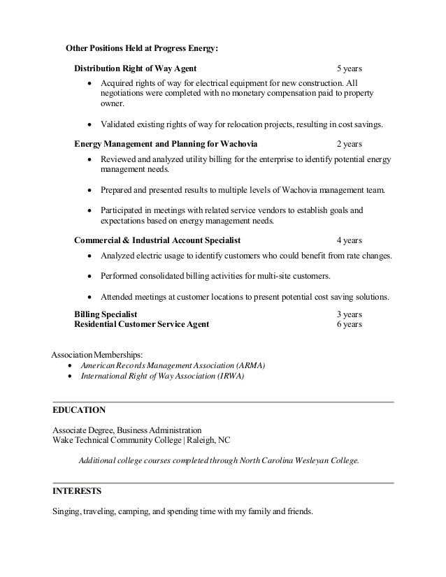 right of way agent resume