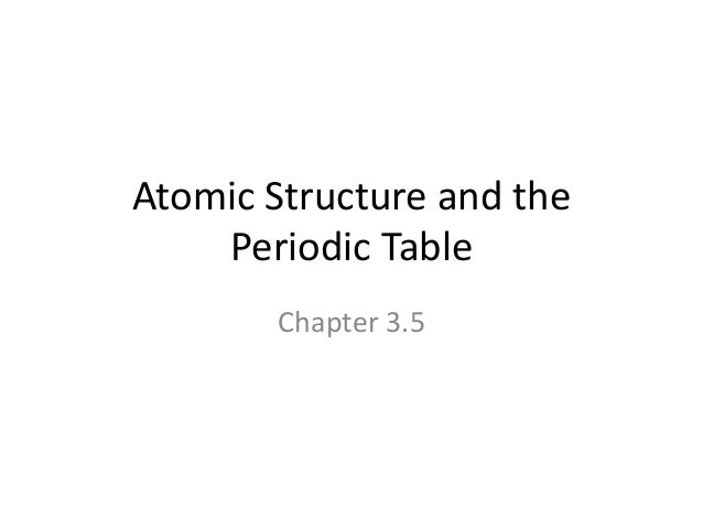 Atomic Structure and the Periodic Table Chapter 3.5